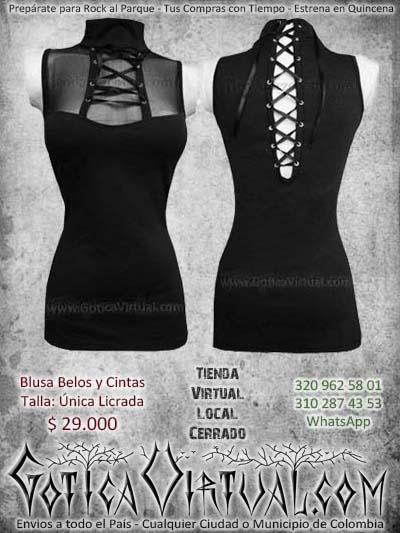 blusa velo manga corta cintas negra metalera abertura rockera mujer femenina barata economica ventas online envios manizales cauca medellin narino putumayo cartagena colombia