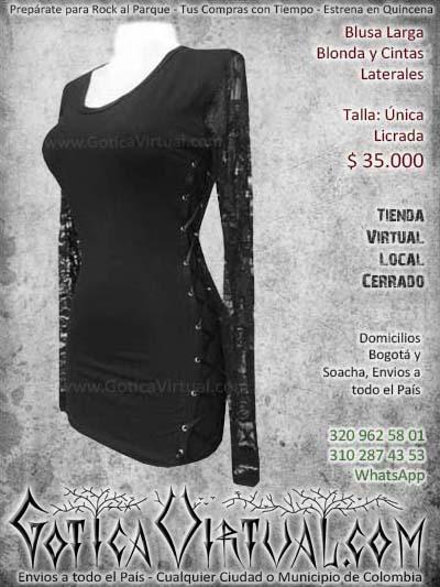 blusa larga cintas blonda negra metalera gotica rockera bonita hermosa bogota economica envios ventas online medellin cucuta manizales narino rioacha colombia