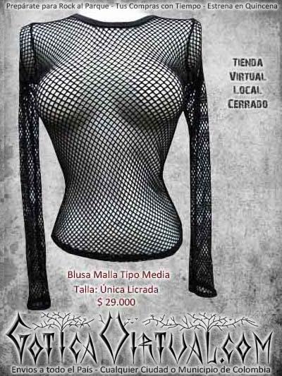 blusa malla negra metalera rockera bogota mujer dama economica barata envios ventas online cali medellin cucuta manizales cordoba colombia