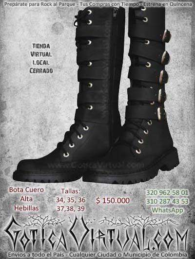 botas hebillas altas negras correas metalera rockera bogota economica baratas ventas online envios todo el pais medellin cucuta narino manizales tunja neiva colombia