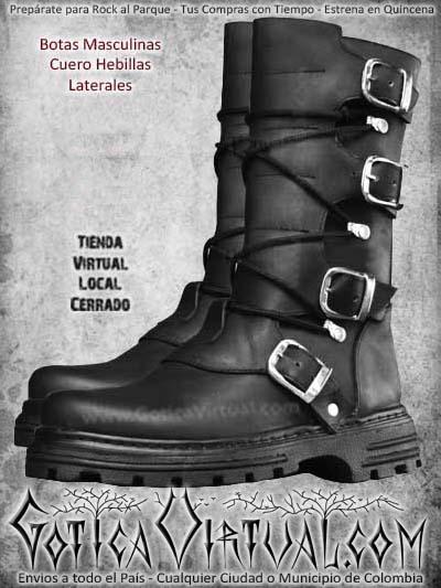 botas negras hebillas rockeras metaleras hombre masculino bogota ventas online envios todo el pais bodega narino tunja neiva manizales cucuta cauca colombia