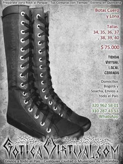 botas negras largas lona cuero bogota goticas bonitas economicas mujer femeninas baratas envios todo el pais ventas online neiva cauca villadeleyva tunja colombia