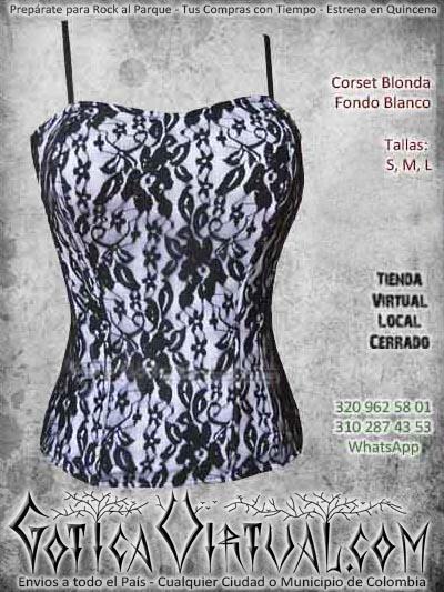 corset blonda fondo blanco metalero rockero mujer hermoso flores encaje ventas online envios a todo el pais cali medellin cucuta neiva colombia