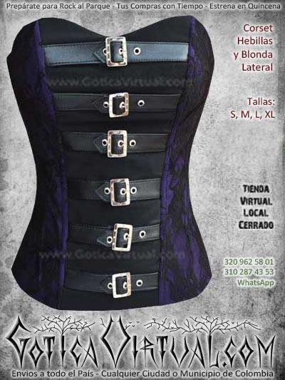 corset hebillas blonda lateral morado bogota mujer femenino ventas online envios a todo el pais cali medellin cucuta cauca narino meta villavicencio colombia