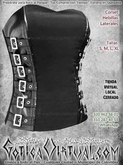 corset hebillas laterales negro bogota metalero rockero dark mujer economico bonito ventas online envios a todo el pais manizales cordoba sucre meta tunja cali cucuta cauca colombia