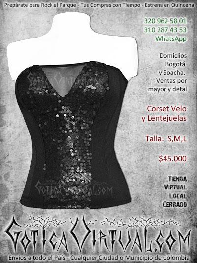 corset lentejuelas velo negro envios online bogota arauca caqueta santander mosquera antioquia manizales colombia