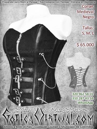 corset medieval negro cadenas dama hebillas domicilios colombia soacha bogota cali medellin cucuta manizales