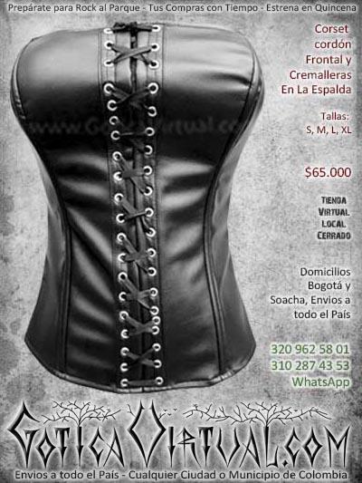 corset negro cordones cuerina cuero bonito economico ventas online envios a todo el pais cali medellin cucuta neiva cartagena colombia