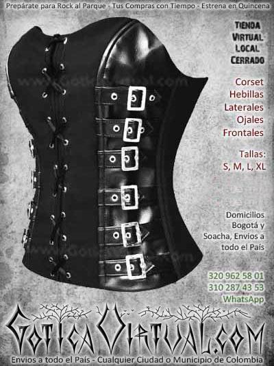 corset ojales frontales bogota negro cuero cuerina pv mejer femenino barato economico cali medellin cucuta cauca pereira rioacha colombia