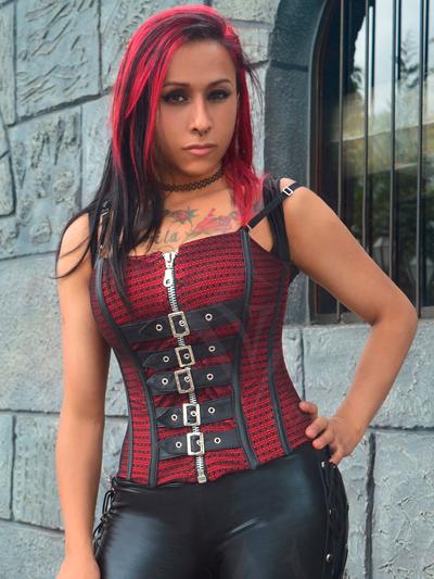 corset rojo hebillas sexy bogota mujer femenino gotico medellin cali manizales cucuta colombia domicilios pereira