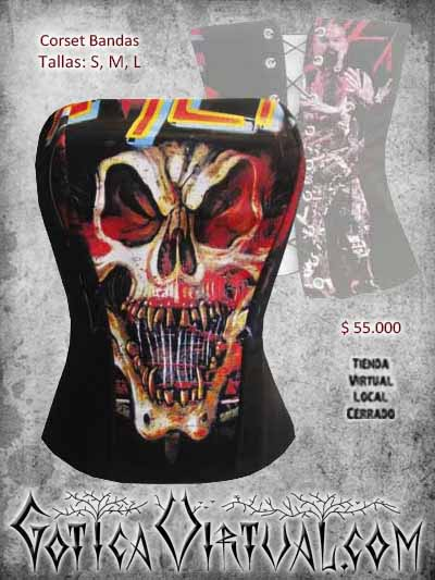 corset bandas ventas online bodega metal rockero envios a todo el pais cali medellin cauca cucuta narino colombia