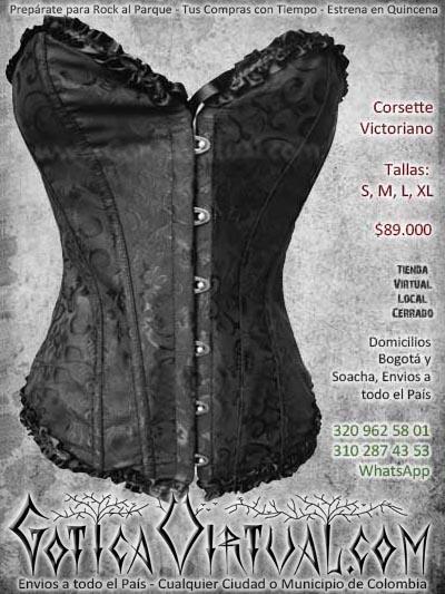 corsett victoriano negro metalero gotico dark bogota mujer femenino economico barato bodega ventas online envios a todo el pais cali medellin cucuta neiva colombia