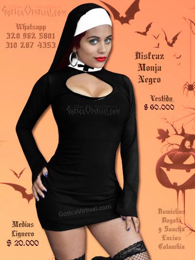disfraz monja sexy negro vestido helloween sexy economico barato ventas online envios a todo el pais cali popayan barranquilla sucre tolima cauca sincelejo zipaquira rioacha colombia