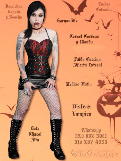 disfraz vampira sexy economico venta online corset falda envios colombia bogota medellin cali cartagena cali yopal colombia