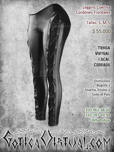 leggins cuerina sintetico cordones negro bogota mujer femenino ventas online envios todo el pais cali medellin cucuta narino neiva colombi