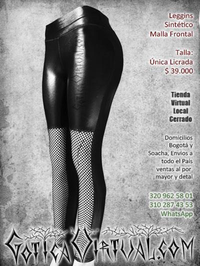 leggins sintetico malla brillante pvc bogota pantalon rockero gotica mujer femenino prendas negras cali manizales guajira tolima colombia