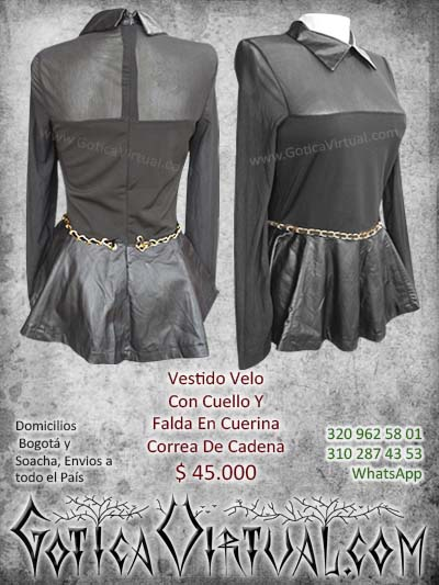 vestido velo falda cuello cuerina correa cadena negro nuevo domicilios soacha bogota cali medellin colombia pereira